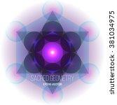 metatron's cube on white... | Shutterstock .eps vector #381034975