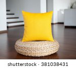 Yellow  Pillow In White...