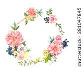pink flower wreath watercolor... | Shutterstock . vector #381047845