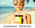 Young Beautiful Girl Drinking ...