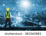 double exposure of engineer...   Shutterstock . vector #381065881