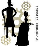 Abstract Steampunk Male And...