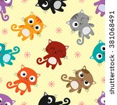 Stock vector bright seamless vector pattern with different cats 381068491