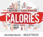 calories word cloud  fitness ... | Shutterstock . vector #381075025