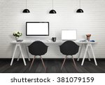 computers on the desk in the... | Shutterstock . vector #381079159