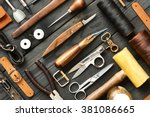 leather crafting diy tools flat ... | Shutterstock . vector #381086665