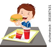 boy eating fast food. vector... | Shutterstock .eps vector #381087631