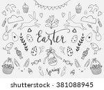 easter hand sketched vector... | Shutterstock .eps vector #381088945