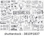 a huge set of vector doodles... | Shutterstock .eps vector #381091837