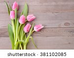 Pink Tulips On Wooden...