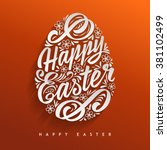 happy easter greeting card ... | Shutterstock .eps vector #381102499