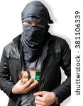 Small photo of Terrorist puts dynamite bomb in jacket. Terrorism concept. Isolated on white.