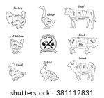 set a schematic view of animals ... | Shutterstock .eps vector #381112831