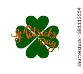 clover and original lettering... | Shutterstock .eps vector #381113554
