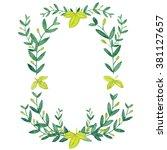 watercolor olive wreath.... | Shutterstock . vector #381127657