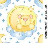 bear on the moon pattern | Shutterstock .eps vector #381133285