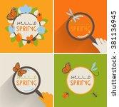 spring outline font poster.... | Shutterstock .eps vector #381136945