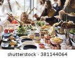 food buffet catering dining... | Shutterstock . vector #381144064