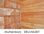close up on dry salt sauna with ... | Shutterstock . vector #381146287