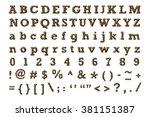 alphabet set with leopard...   Shutterstock . vector #381151387