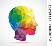 colored low poly human head on... | Shutterstock .eps vector #381151975