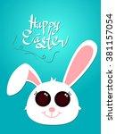 happy easter  easter bunny ... | Shutterstock .eps vector #381157054