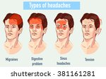 illustration about headaches 4... | Shutterstock .eps vector #381161281