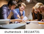 classmates working on a project ... | Shutterstock . vector #381164731