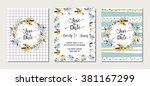 collection of 3 cute card... | Shutterstock .eps vector #381167299