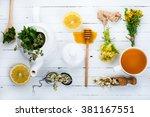 set for herbal tea. detox... | Shutterstock . vector #381167551