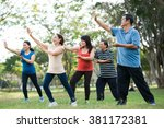 elderly asian people practicing ... | Shutterstock . vector #381172381