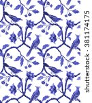 Blue White Seamless Floral...