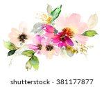 Stock photo flowers watercolor illustration manual composition mother s day wedding birthday easter 381177877