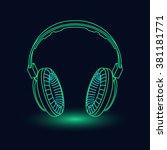neon headphones | Shutterstock .eps vector #381181771