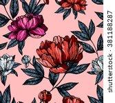 flowers peonies pattern | Shutterstock .eps vector #381188287