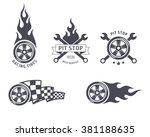 racing tires and service vector ... | Shutterstock .eps vector #381188635