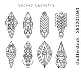 vector linear sacred geometry... | Shutterstock .eps vector #381201061