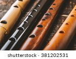 Set Of Flutes  On The Wooden...