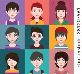 beautiful girls  with hairstyle | Shutterstock .eps vector #381207961
