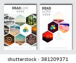 Business brochure design template. Vector flyer layout, blur background with elements for magazine, cover, poster design. A4 size. | Shutterstock vector #381209371