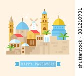 happy passover greeting card... | Shutterstock .eps vector #381210931