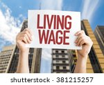 living wage placard with urban... | Shutterstock . vector #381215257