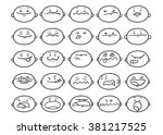 set of cartoon funny faces | Shutterstock .eps vector #381217525