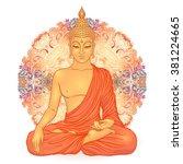 Sitting Buddha Over Ornate...