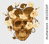 dead head with a wreath of ivy... | Shutterstock .eps vector #381233269