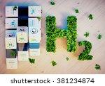 hydrogen energy concept. 3d...   Shutterstock . vector #381234874