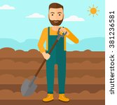 farmer on the field with shovel. | Shutterstock .eps vector #381236581