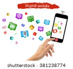 smart phone with internet of... | Shutterstock . vector #381238774
