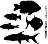 fish silhouettes | Shutterstock .eps vector #3812434