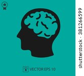 head with brain vector icon eps ... | Shutterstock .eps vector #381266599